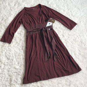 James Perse Tie Waist Long Sleeve Dress